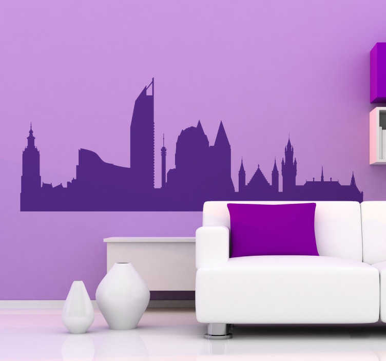 TenStickers. Naklejka dekoracyjna Haga panorama. Naklejki na ścianę z panoramą miasta Haga. Naklejki na ścianę z różnymi miastami Europy. Naklejki na ściane do salonu.