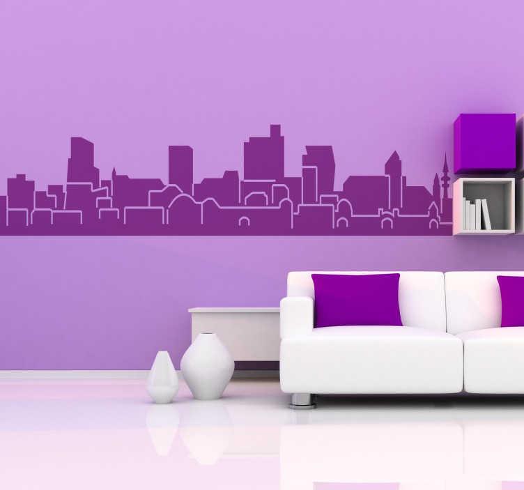 TenStickers. vinilo decorativo skyline hamburg. Autocolante decorativo com a skyline de Hamburgo. Aconselhamos que coloques este vinil personalizado na decoração da sala ou na decoração do quarto.