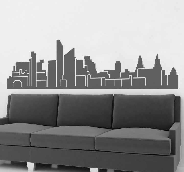 TenStickers. Liverpool Skyline Muurticker. Een indrukwekkende skyline sticker van Liverpool. Als je uit Liverpool komt of simpelweg van deze stad houdt dan is deze sticker iets voor u!