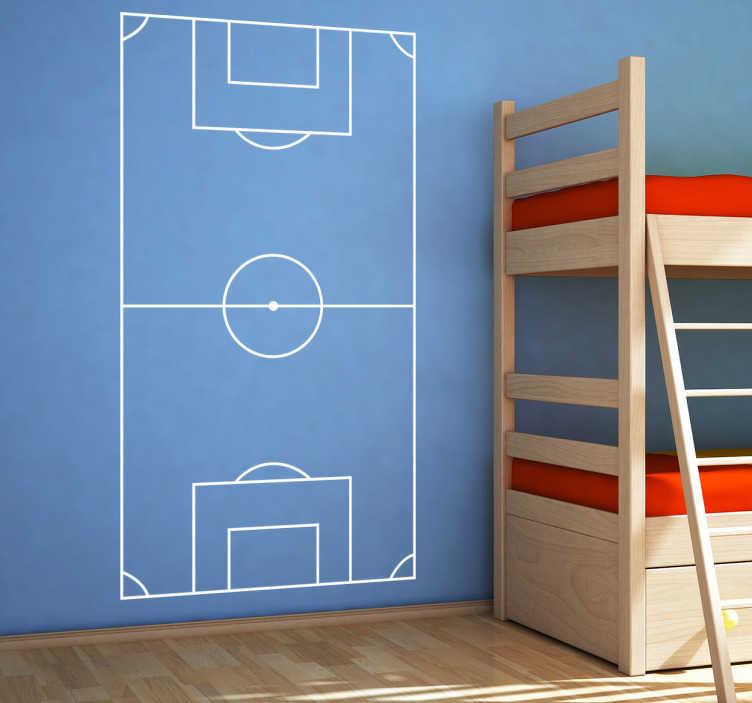 TenStickers. Adesivo murale campo di calcio. Sticker  decorativo con un disegno di un campo di calcio ideale per  trasformare completamente l'arredamento della stanza di tuo figlio.