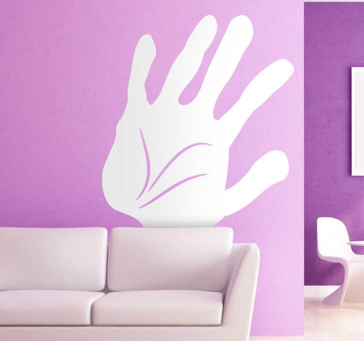 TenStickers. Sticker decorativo mano 2. Adesivo murale che raffigura il palmo di una mano sul quale sono visibili le famose linee del destino. Un'originale decorazione per la camera da letto.