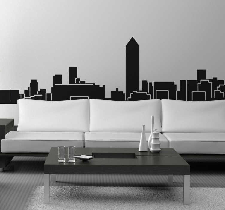 TenStickers. Autocolante decorativo skyline Lyon. Autocolante decorativo com a skyline de Lyon. Vinil personalizado para a decoração da sala ou para a decoração do quarto