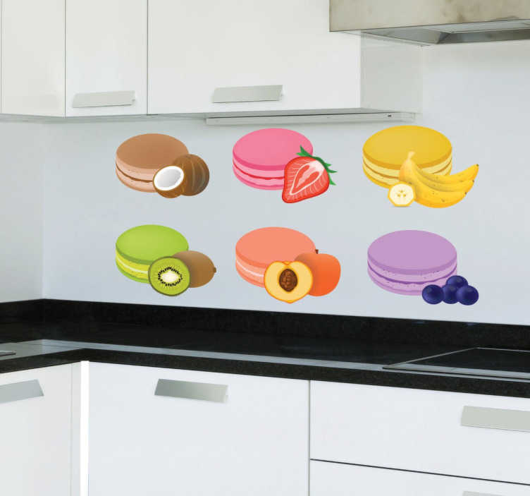 TenStickers. Flavoured Macaroons Sticker. A sticker for all those with a sweet tooth and a love of good food. Decorate your kitchen with these delicious macaroons.