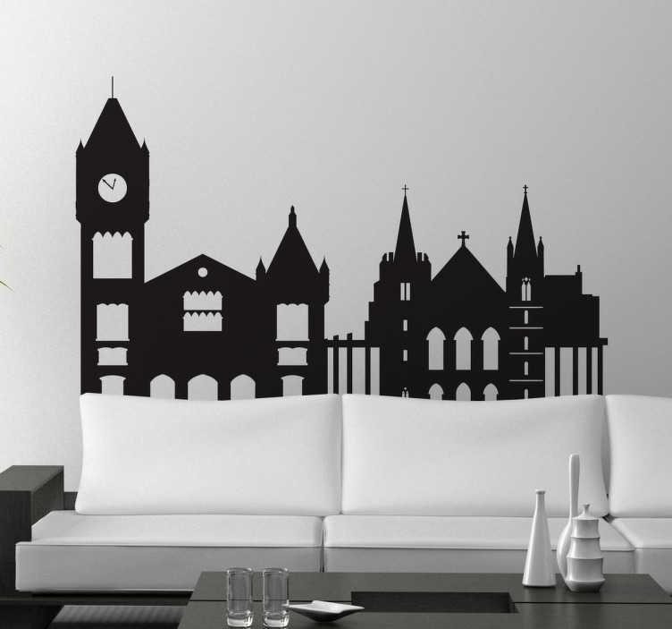 TenStickers. Autocolante decorativo skyline Perth. Autocolante decorativo com elementos turístico de Perth. Vinil personalizado ideal para colocar na decoração da sala ou na decoração do quarto.