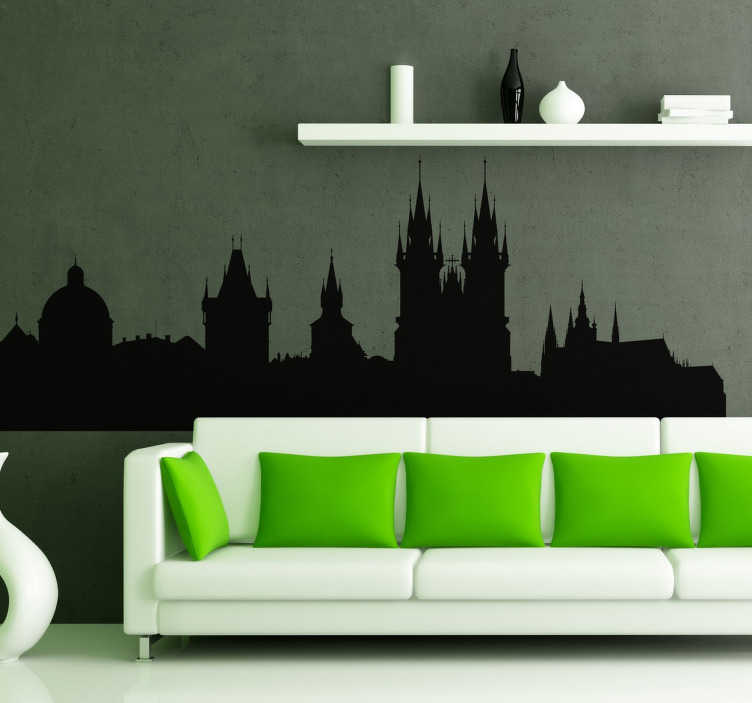 TenStickers. Naklejka panorama Pragi. Naklejka dekoracyjna przedstawiająca linię horyzontu z widokiem na czeską stolicę - Pragę. Miasto, które jest uważane za jedno z piekniejszych w Europie.