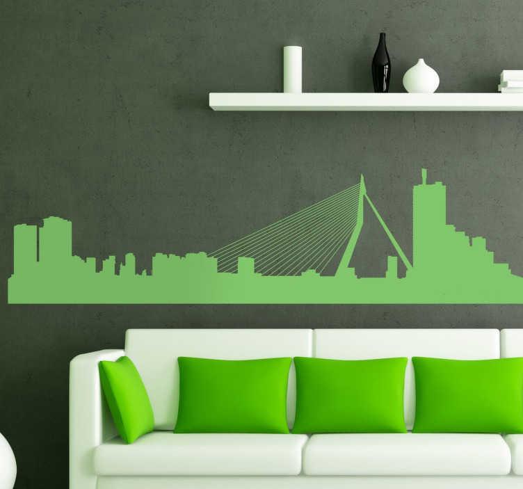TENSTICKERS. ロッテルダム市のスカイラインシルエット壁デカール. ロッテルダムのロケーションシルエットの壁デカールデザイン。必要なサイズで、さまざまな色のオプションで利用できます。