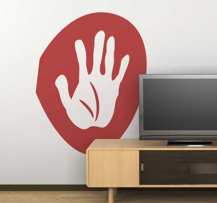 TenStickers. Naklejka dłoń. Naklejka dekoracyjna, która przedstawia namalowaną ludzką dłoń na okrągłym czerwonym tle. Obrazek jest dostępny w wielu kolorach i wymiarach.