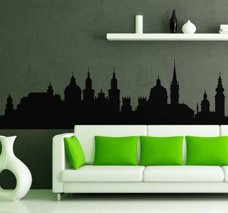 TenStickers. Salzburg city skyline silhouette wall decal. Skyline silhouette wall decal ofskyline Salzburg. It is available in different colours and size option. Easy to apply and self adhesive.
