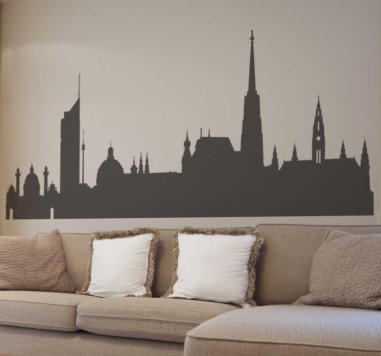 TenStickers. Adesivo silhouette Vienna. Adesivo decorativo che raffigura la bellissima capitale austriaca. La skyline che rappresenta Vienna è molto elegante ed originale.