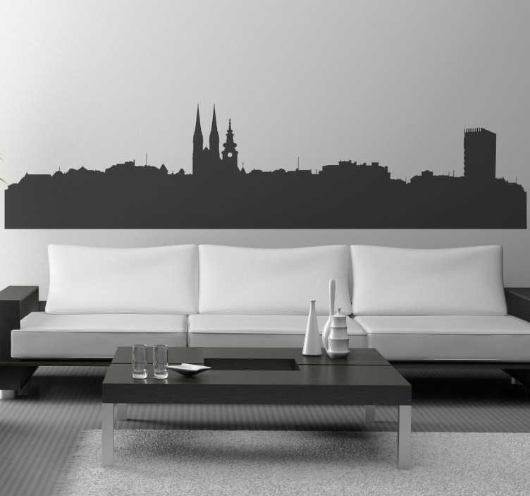TenStickers. Zagreb Skyline Decal. A decorative decal of the Croatian capital to decorate your home. Fantastic skyline sticker to give your place a new appearance!