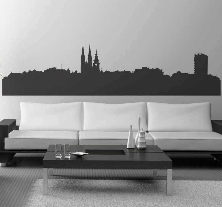 TenStickers. Naklejka Zagrzeb. Naklejka dekoracyjna przedstawiająca panoramę stolicy Chorwacji - Zagrzeb.