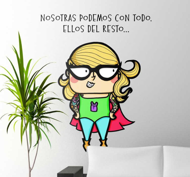 TenVinilo. Vinilo decorativo superheroína. Vinilos originales y humorísticos con diseño exclusivo de LaMai para tenvinilo.com