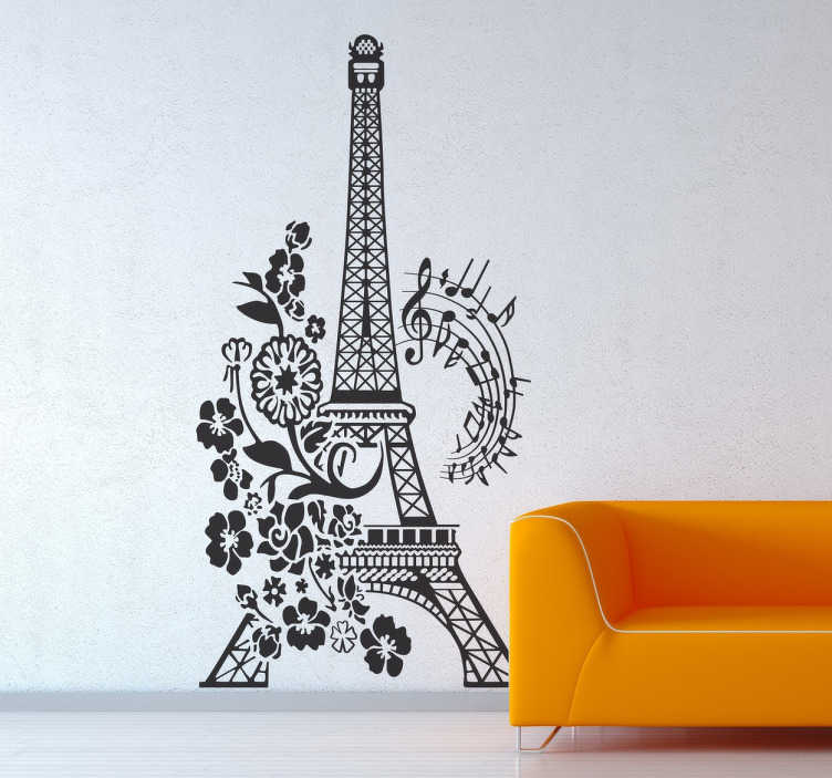 TenStickers. 꽃과 뮤지컬 에펠 탑 벽 스티커. 에펠 탑을 보여주는 환상적인 디자인. 음악, 꽃, 프랑스를 좋아한다면이 여행 데칼이 당신을위한 것입니다!