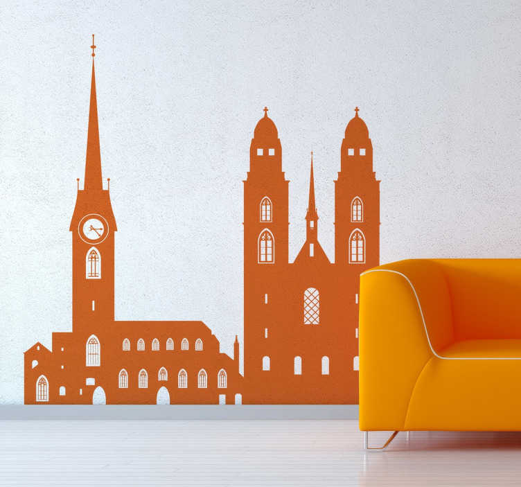 TenStickers. Sticker décoratif Zurich. Décorez les murs de votre salon avec ce sticker unique représentant les monuments de la ville de Zurich.