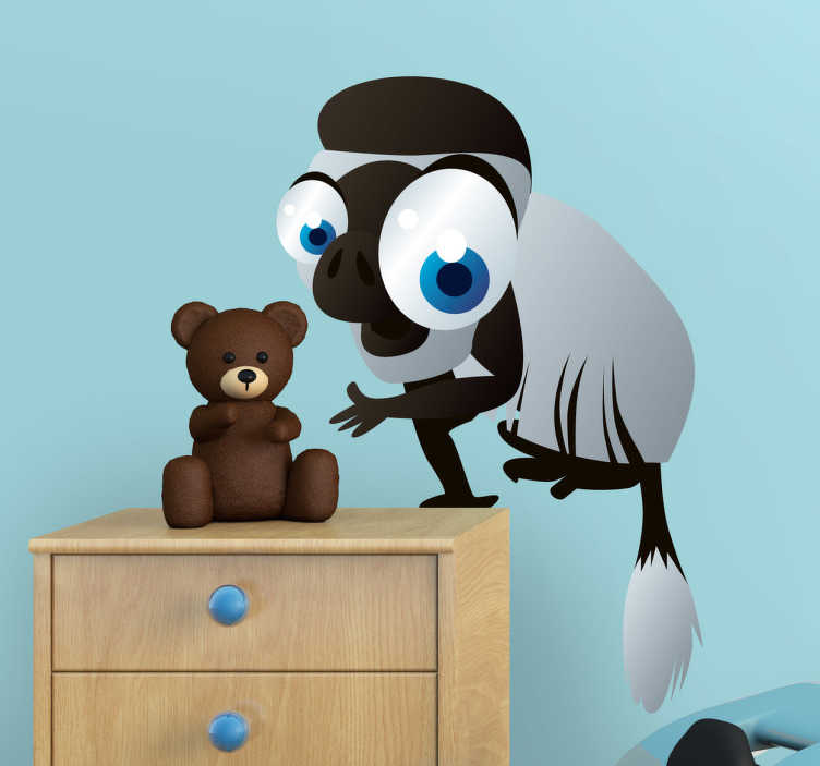 TenStickers. Naklejka małpa. Naklejka dekoracyjna dla dzieci przedstawiająca szarą małpkę z czarną plamką na pyszczku, i wielkimi niebieskimi oczami.