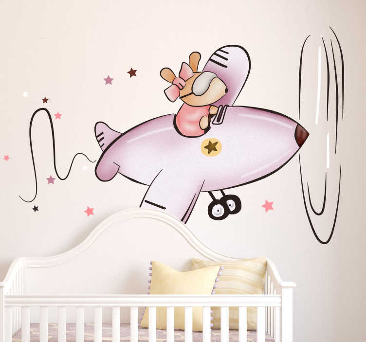 TenStickers. Kids Little Mouse in Plane Sticker. Children's bedroom stickers - Cute design that features a mouse flying a plane. The mouse wall sticker is the perfect girls bedroom sticker.