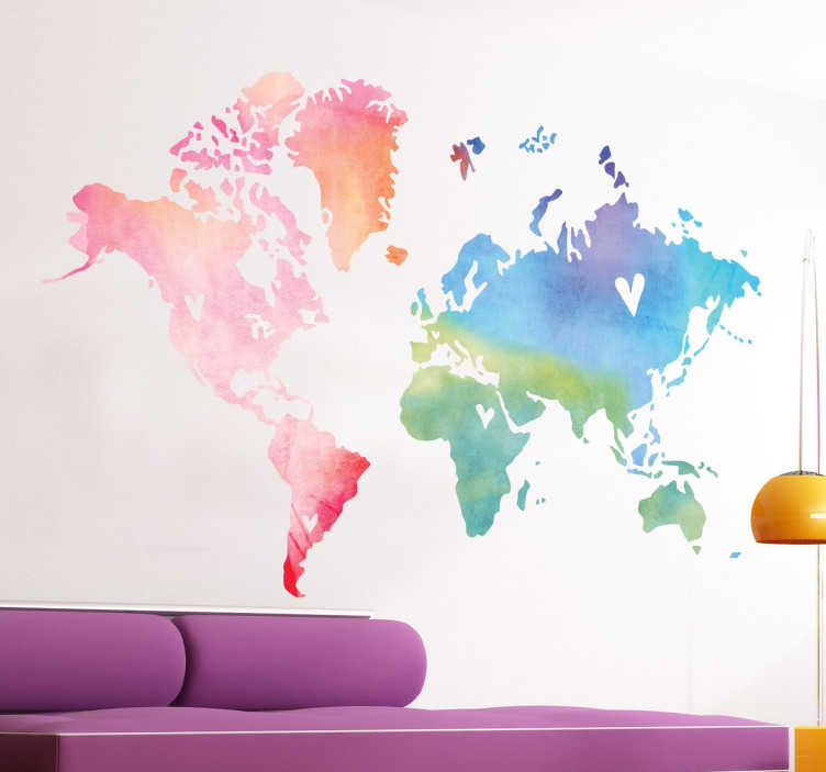 TenStickers. World Map Watercolour Wall Sticker. A splendid design of a world map with a touch of originality. This world map sticker is perfect to decorate your bedroom or living room.