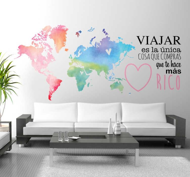 TenVinilo. Vinil mapamundi y texto sobre viajar. Vinilos para decoración de cualquier tipo de estancias pensados para gente amante de los viajes.