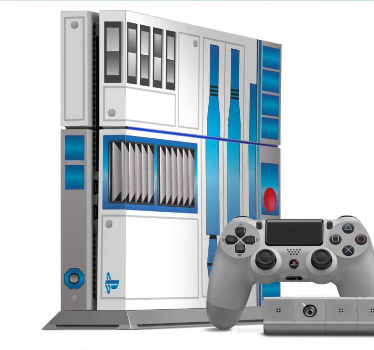 TenStickers. PS4 R2D2 Star Wars Sticker. Dekorieren Sie Ihre Playstation mit einem Aufkleber im Star Wars Design.