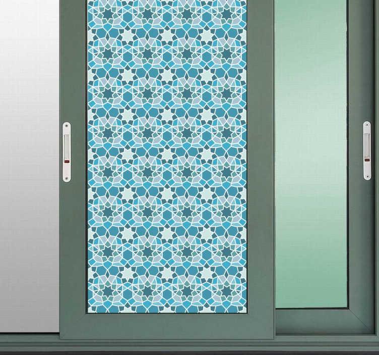TenStickers. 파란색 기하학적 문 스티커. Door stickers - 집이나 사무실에서 문을 장식하는 크리스탈 데칼. 기하학적 스티커도 샤워 스크린 데칼로 욕실에서 놀라운 것 같습니다.