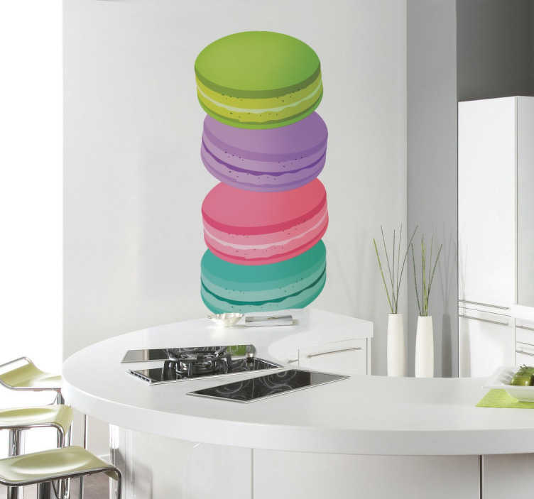 TenStickers. Coloured Macaroons Sticker. Multicoloured food sticker showing four different coloured macaroons stacked on top of each other, for those with a sweet tooth to add some colour to their kitchen. Decorate the walls of your home originates and fun way to lose usual boring white.
