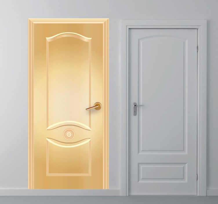 TenStickers. Goldene Tür Aufkleber. Gefällt Ihnen die Tür in Gold? Ein besonderes Wandtattoo für Ihr Zuhause. Verschönern Sie langweilige Türen oder täuschen eine Tür humorvoll vor.