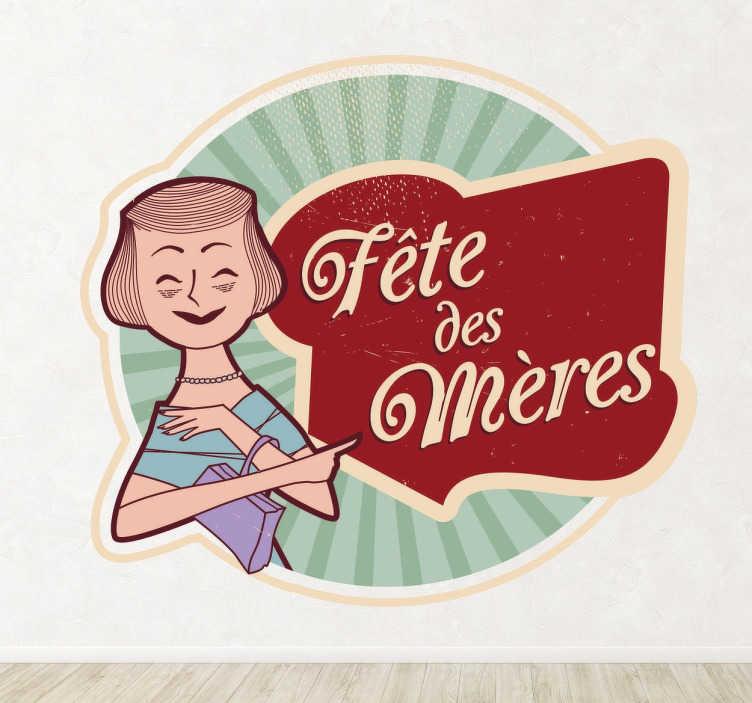 """TenStickers. Sticker fête des mères rétro. Sticker texte """"Fête des mères"""", idéal pour décorer votre maison ou votre commerce avec ce design original et rétro."""