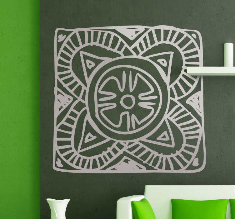 TenStickers. Sticker decorativo mosaico africano 2. Adesivo murale per decorare camere da letto. Sticker con rappresentazione etnica, disponibile in 50 colori diversi.