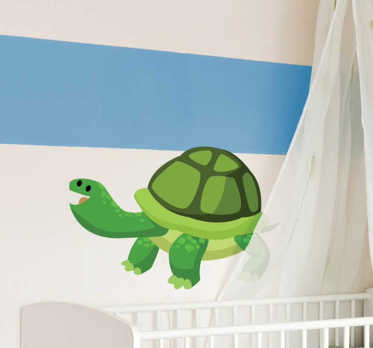 TenStickers. Happy Tortoise Sticker. Decorative kids sticker of a happy tortoise that will make your children's room a comfortable and fun place.