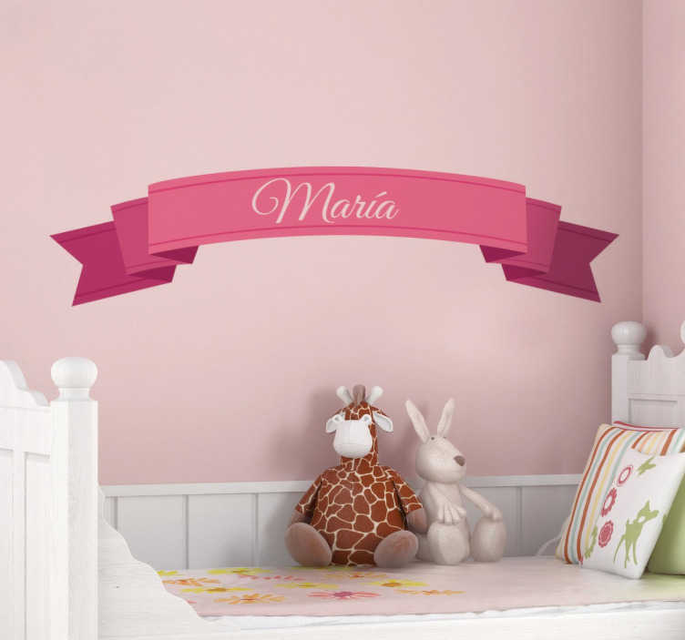 TenStickers. Customisable Childrens Princess Tape Name Sticker. Decorate your daughter´s room with this lovely ribbon sign that you can customise with any name.