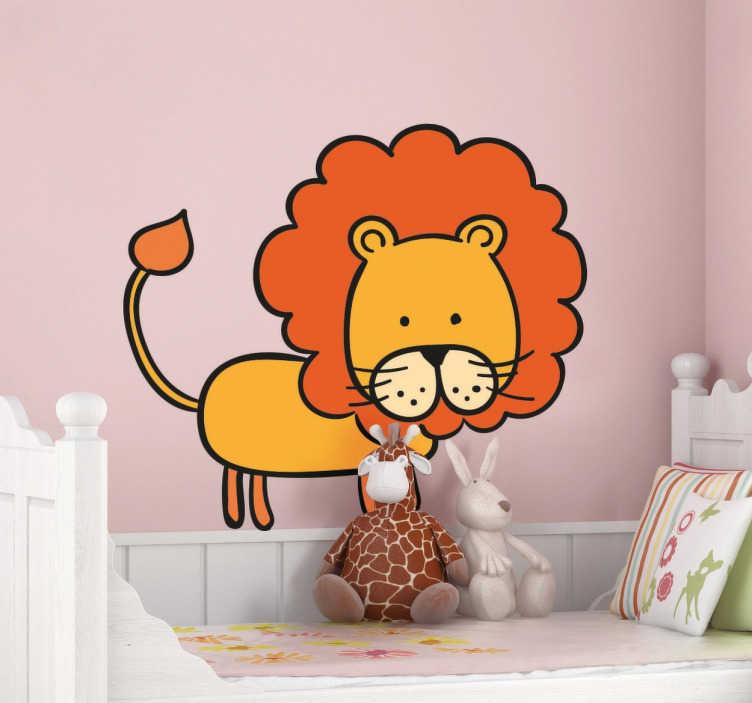 TenStickers. Leeuw kinderen sticker. Kinderkamer muursticker van een leuke en vrolijke leeuw! Breng meer kleur in de kinderkamer en bestel deze sticker in het formaat dat jij wilt!