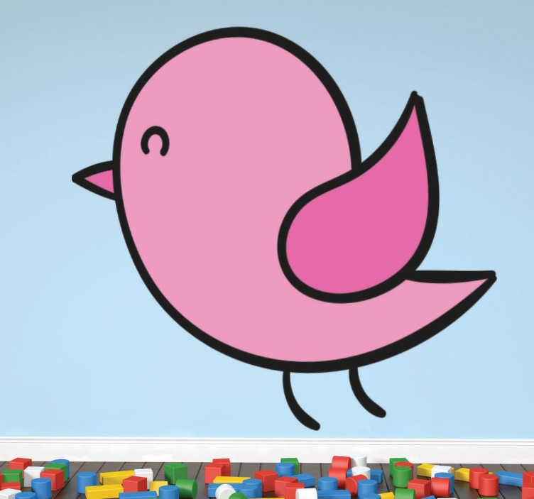 Naklejka różowy ptaszek