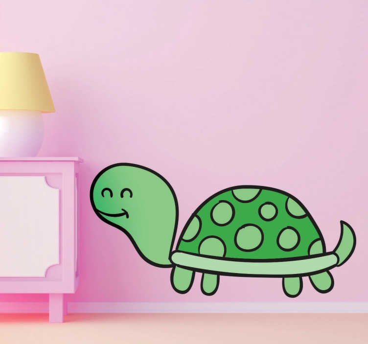 TenStickers. Happy Turtle Sticker. Fun illustration of a happy, smiling turtle in decorative vinyl with different green hues that will look great in your children's bedroom.