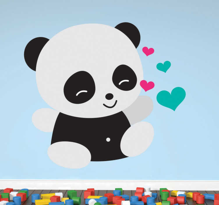 TenStickers. Naklejka zakochana panda. Urocza panda z niebieskimi i różowymi serduszkami wokół niej w formie naklejki dekoracyjnej na ścianę dla dzieci.
