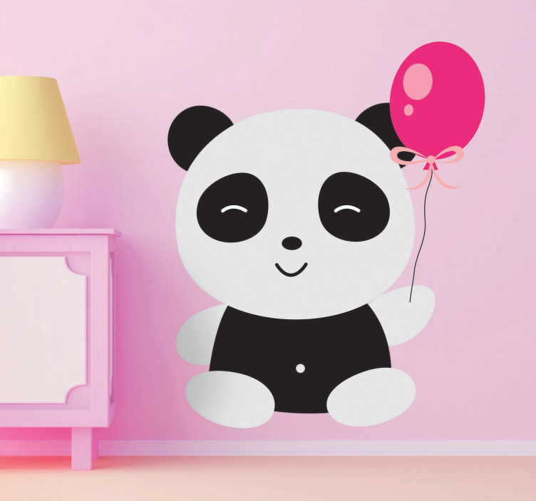 TenStickers. Panda with Balloon Sticker. Decorative sticker of a cute and smiling panda holding a pink balloon.