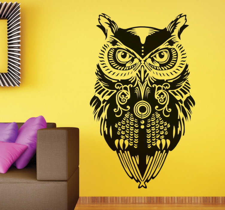 TenStickers. Patterned Owl Sticker. Original decorative sticker of an owl watching you, looks great on the walls of your home.