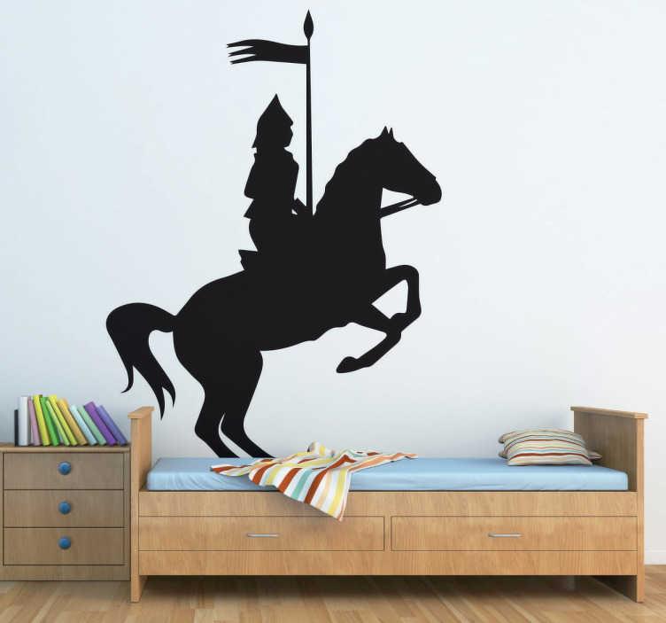 TenVinilo. Vinilo decorativo caballero montado. Pegatina decorativa de un jinete montando su caballo y vestido con una indumentaria medieval mientras sostiene el estandarte.
