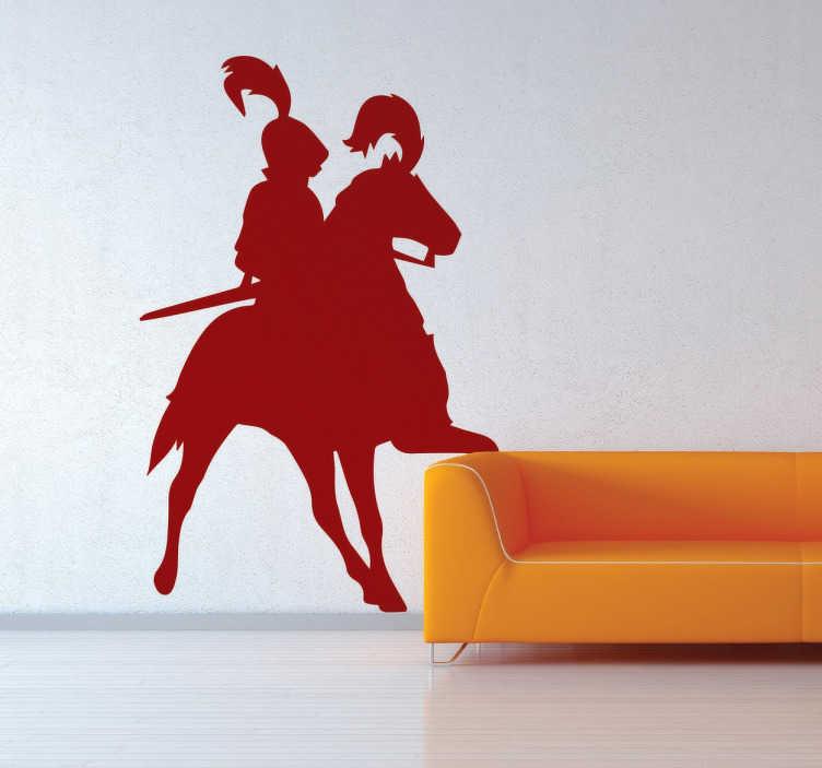 TenStickers. Sticker chevalier. Sticker original d'une silhouette de chevalier en armure monté sur son cheval, idéal pour décorer les murs de votre intérieur.