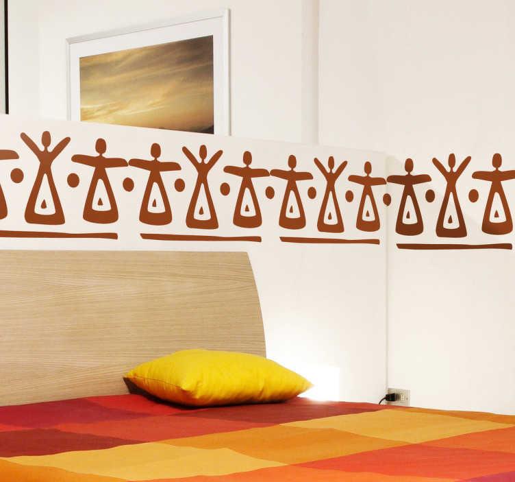 TENSTICKERS. アフリカの女性の国境のステッカー. アフリカのスタイルの国境の壁のステッカーは、彼らの腕を伸ばして女性の部族のイラストを示しています。これらのシンプルで効果的な壁のデザインは、あなたの寝室やリビングルームにユニークな雰囲気を作り出すのに最適です。