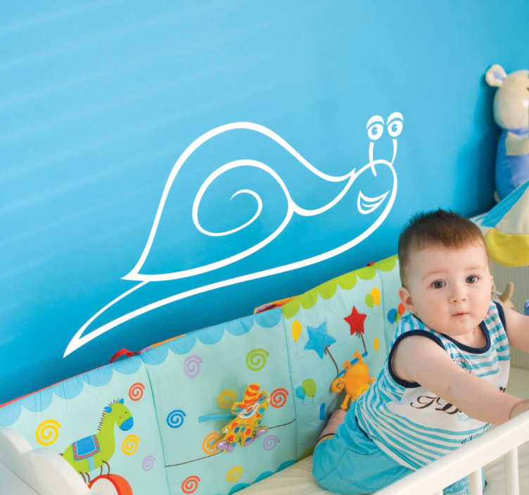 TenStickers. Smiling Snail Sticker. A sweet and smiling snail that is sure to keep your young children entertained in their bedroom's.