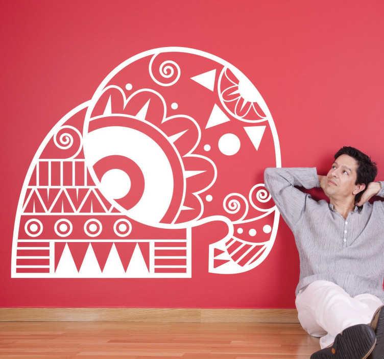 TenStickers. Abstrakter Elefant Wandtattoo. Dekoratives Wandtattoo von einem abstrakten Elefanten. Ideal zur Dekoration von Ihrem Wohnzimmer geeignet.