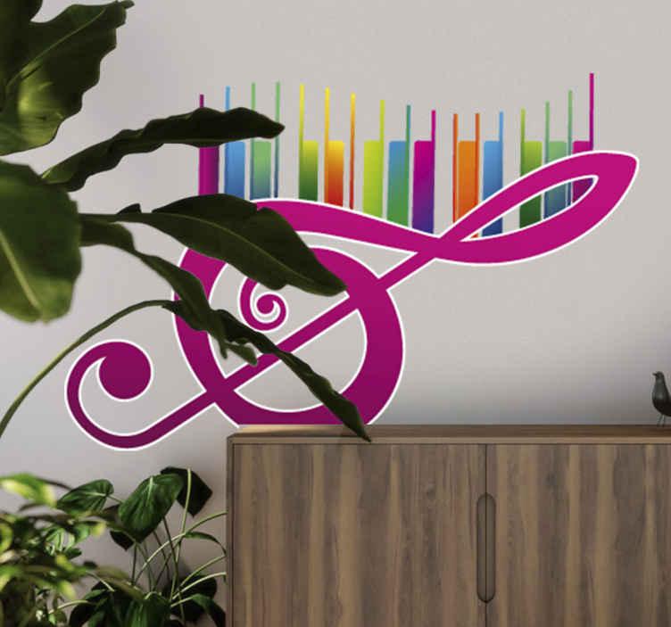 TenStickers. Sticker clé de sol couleurs. Stickers mural illustrant la clé de sol et les touches multicolores d'un piano.Idée déco originale pour votre chambre. Utilisez ce stickers pour customiser aussi bien les murs, armoires ou vitres de votre intérieur.