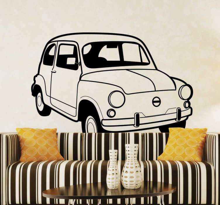 TenStickers. Old Fiat 500 Sticker. A mono-colour sticker of this classic and retro car. A great decal for all auto mobile lovers.