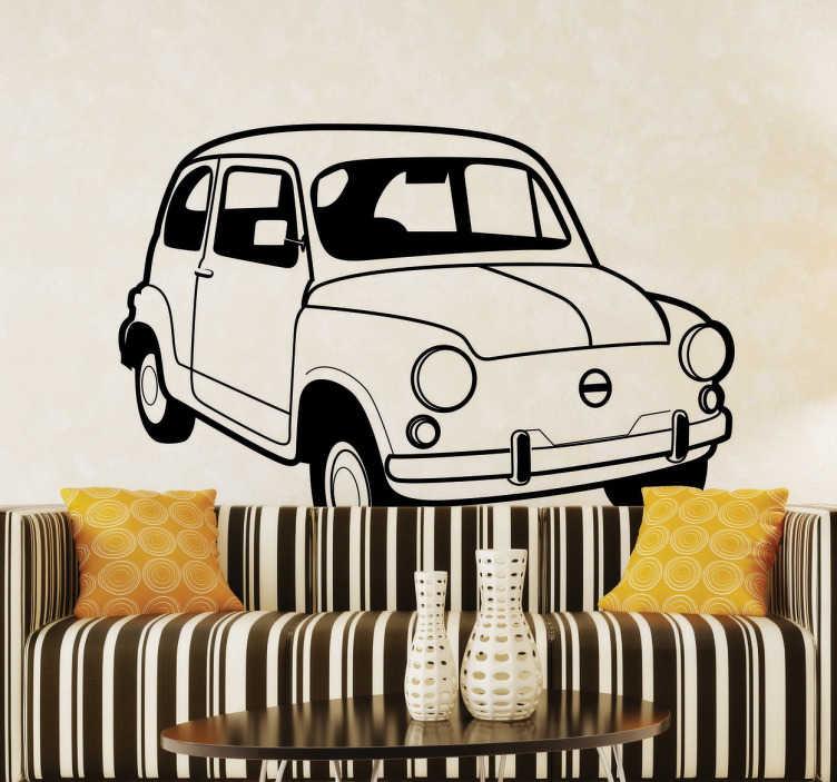 TenStickers. Vinil decorativo Fiat 500 antigo. Autocolante decorativo de um carro clássico como é este Fiat 500.