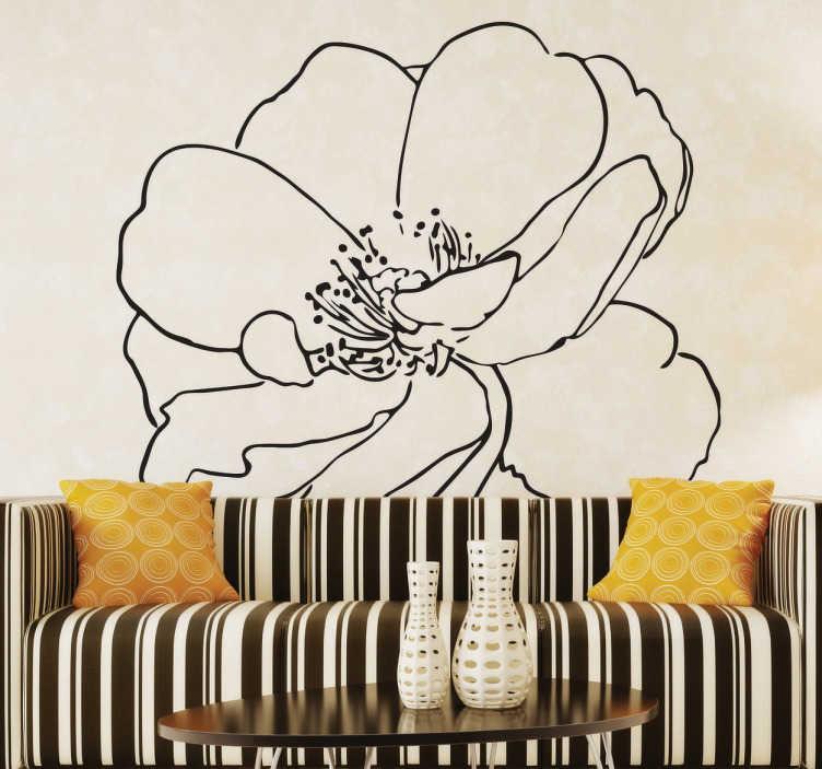 TenStickers. Vinil decorativo flor nascente. Autocolante decorativo de uma flor nascente feita em linha. Este adesivo vai criar um ambiente confortável e único ao teu espaço.