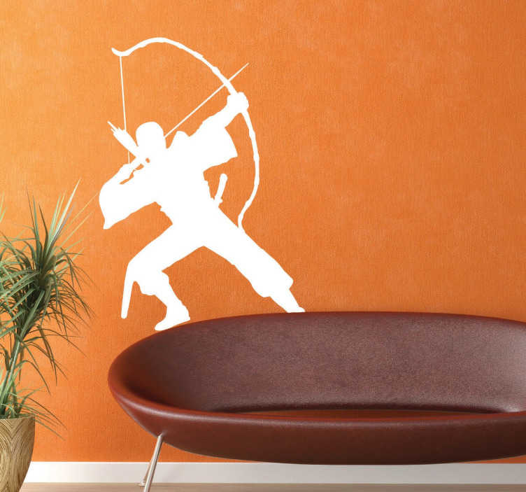 TenStickers. Archer Warrior Sticker. A silhouette sticker of a warrior in action with a bow and arrow.