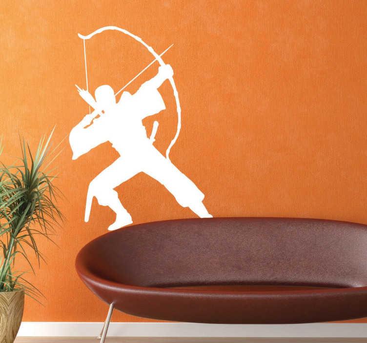 TenVinilo. Vinilo decorativo guerrero arquero. Vinilo decorativo de un guerrero arquero que está a punto de lanzar su flecha. Este guerrero quedará estupendo en las paredes de tu hogar.