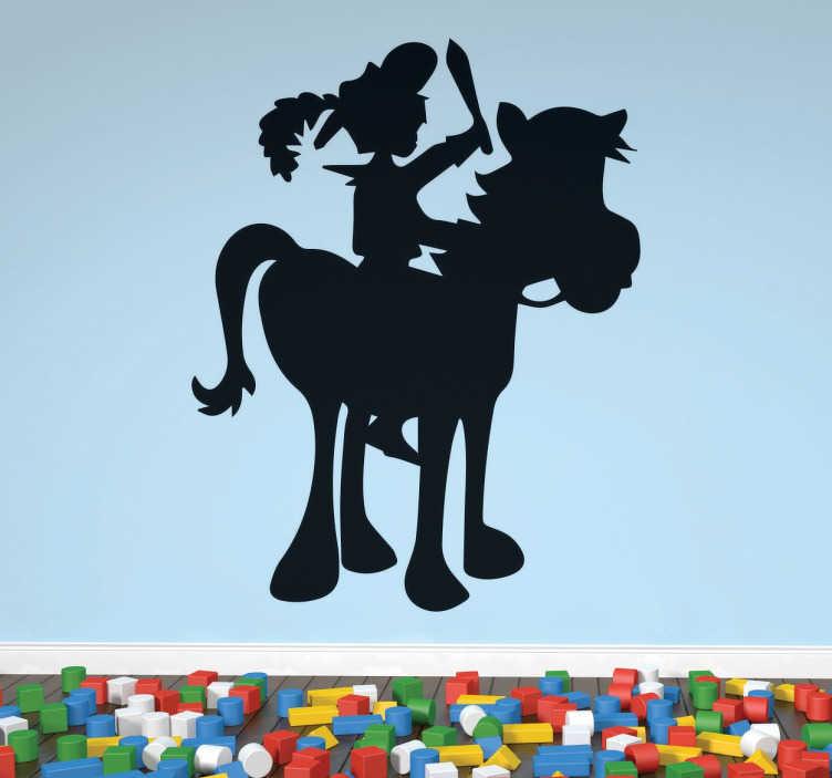 TenStickers. Silouhette Pferd Wandtattoo. Niedliches Motiv von einem Pferd mit Reiter. Das Wandtattoo ist in einem kindlichen Design gehalten und passt daher perfekt in das Kinderzimmer.