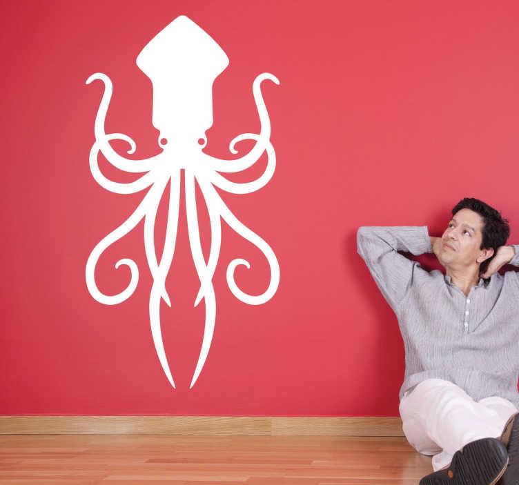 TenStickers. Octopus Wandtattoo. Außergewöhnliches Wandtattoo von einem Octopus. Sie sind von der Unterwasserwelt begeistert? Dekorieren Sie Ihr Wohnzimmer.