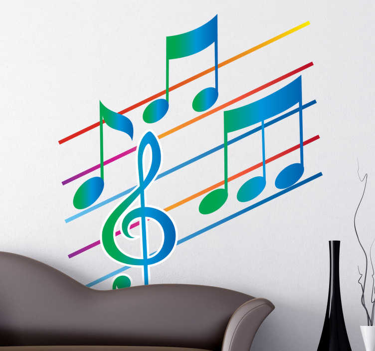 TenStickers. Pentagram with Musical Notes Sticker. Decorative sticker illustrating a stave with musical notes. Fantastic decal to decorate your walls if you love music.
